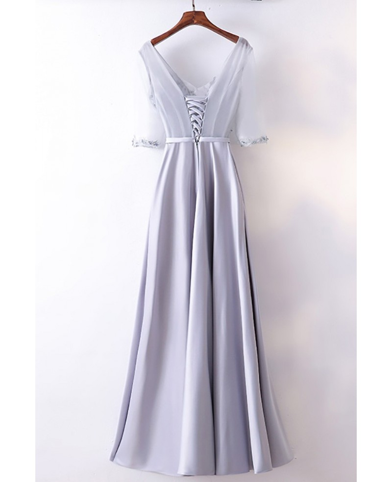 Gorgeous Silver Satin Long Party Dress V-neck With Sleeves