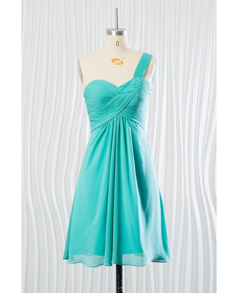 Short Teal Chiffon Bridesmaid Dress One Shoulder Strap for 2018 Summer