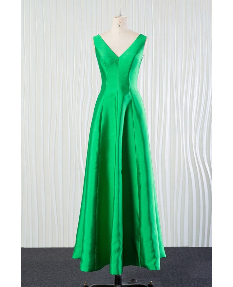 Simple Long Green Bridesmaid Dress In Satin for Spring Fall 2018