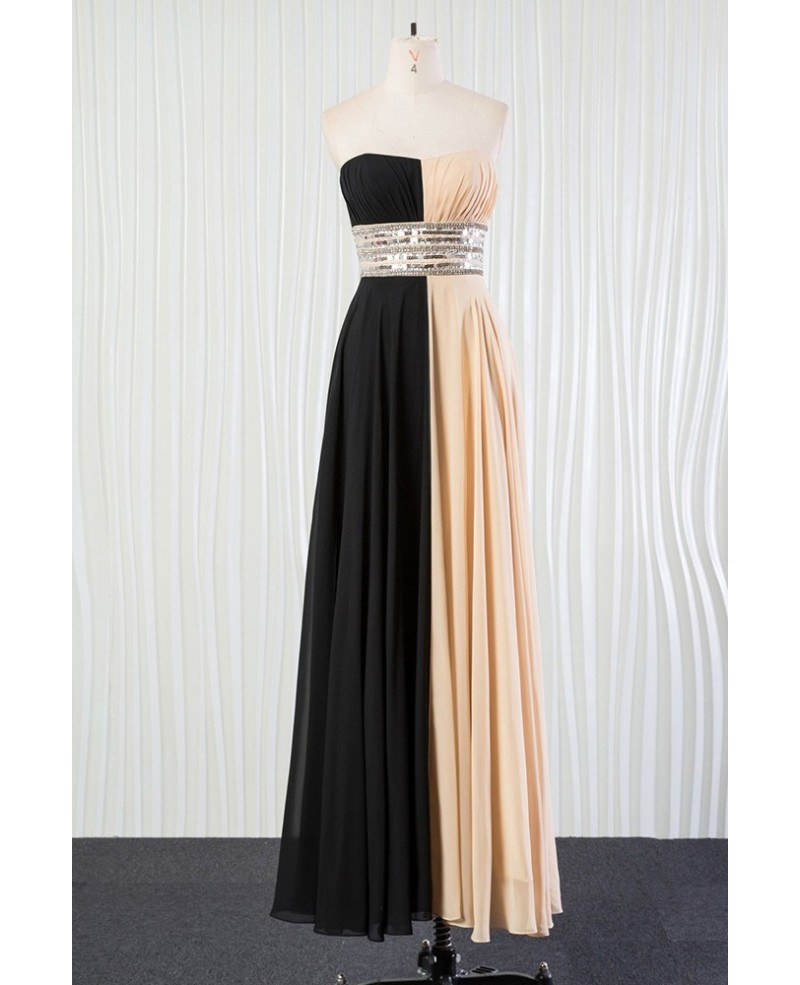 Champagne Black Sequin Bridesmaid Dress Long for 2018 Weddings