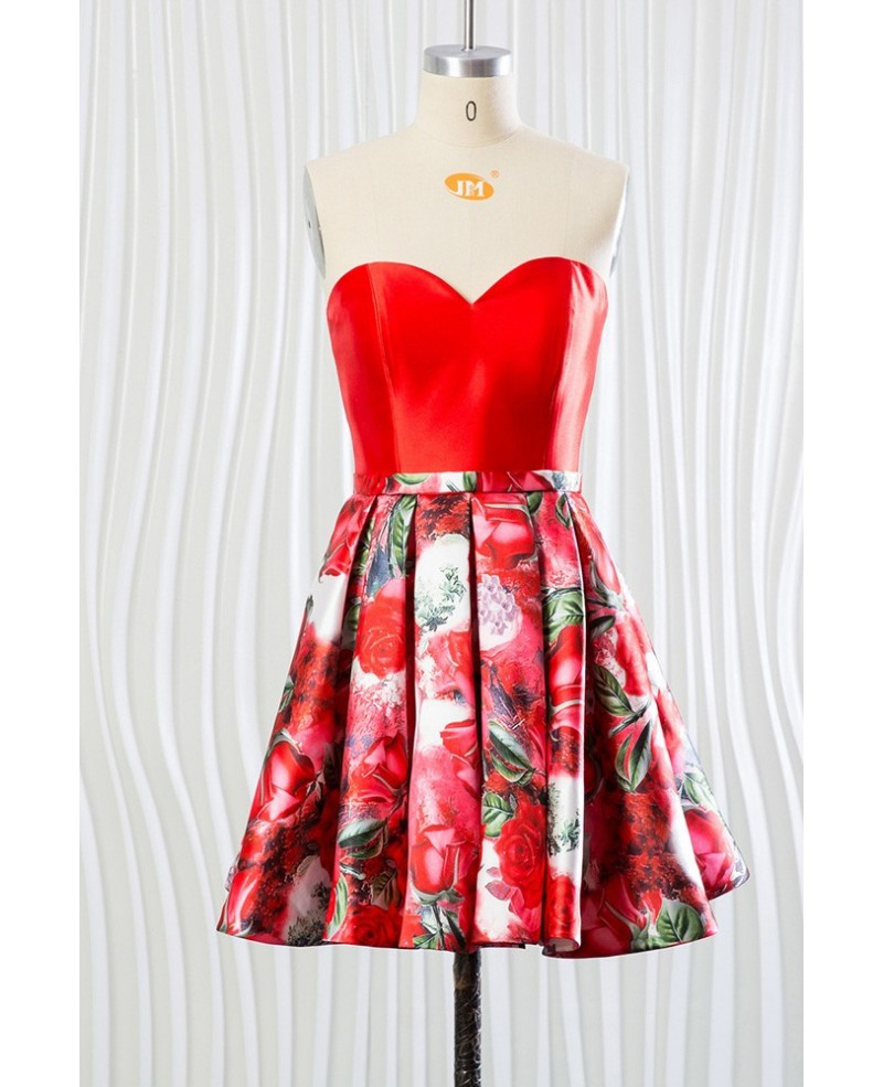 Beautiful Floral Printed Red Bridesmaid Dress for Woman