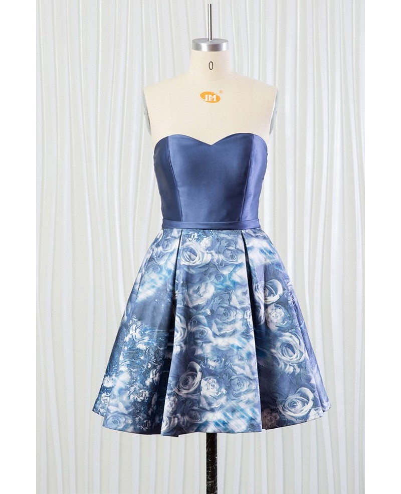 Cheap Printed Floral Blue Bridesmaid Dress Short for Summer
