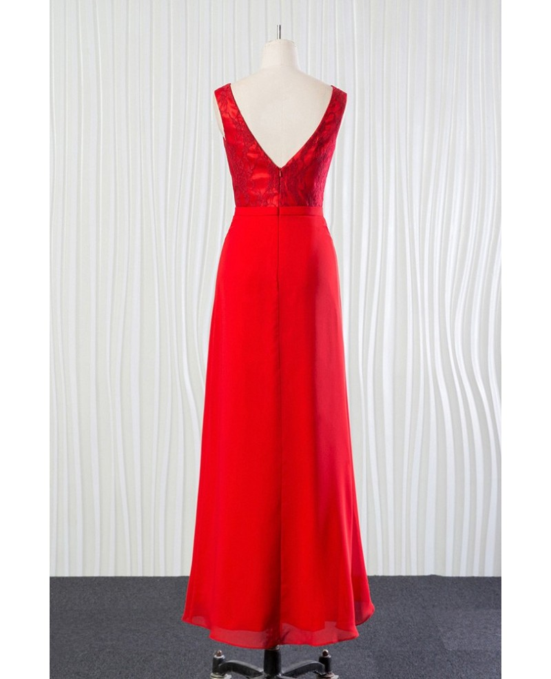 Cheap Long Red Mother Of The Bride Dress for 2018 Weddings