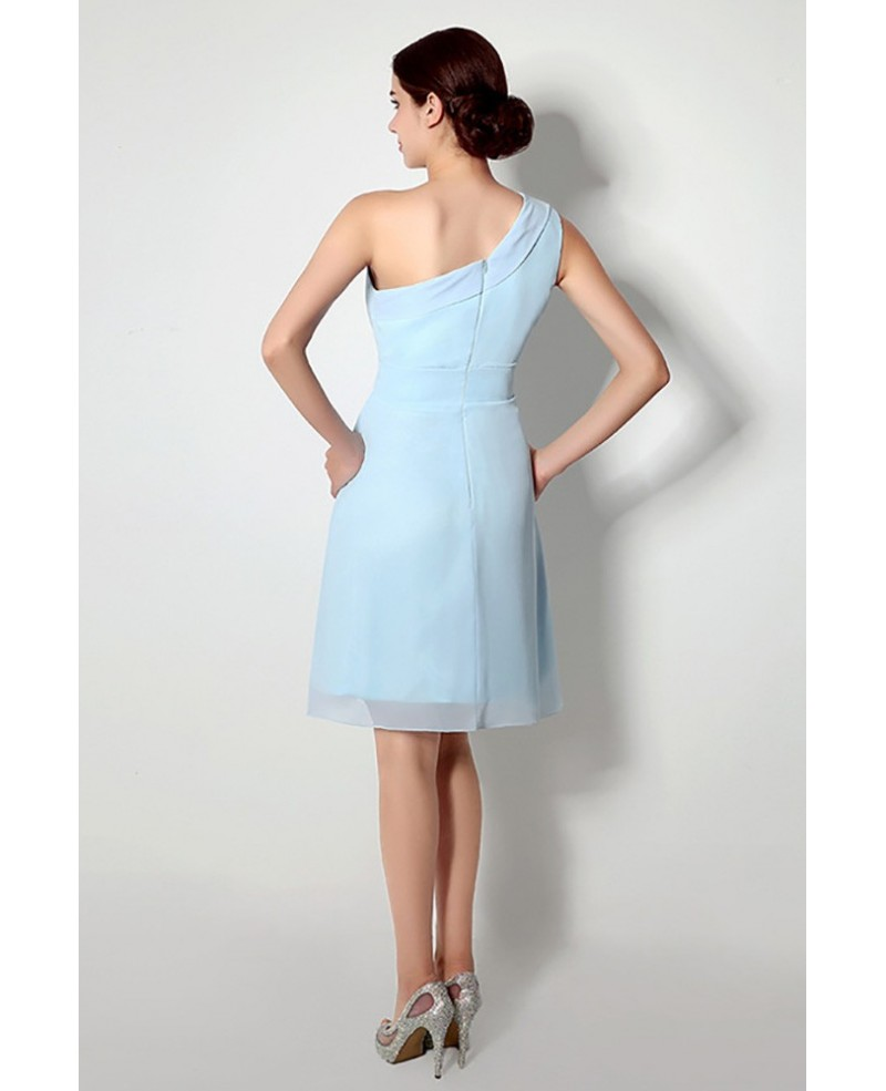 Simple One Shoulder Short Bridesmaid Dress Light Sky Blue