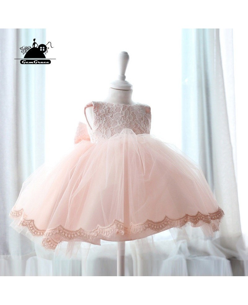 Pink Lace Princess Ballgown Flower Girl Dress Vintage Puffy Tulle Girls Pageant Gown