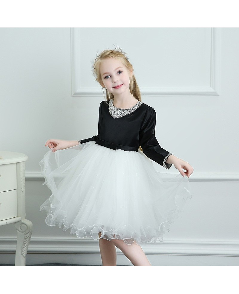 Modern Black And White Tutus Girls Ballet Dress Spring Winter Performance Dress