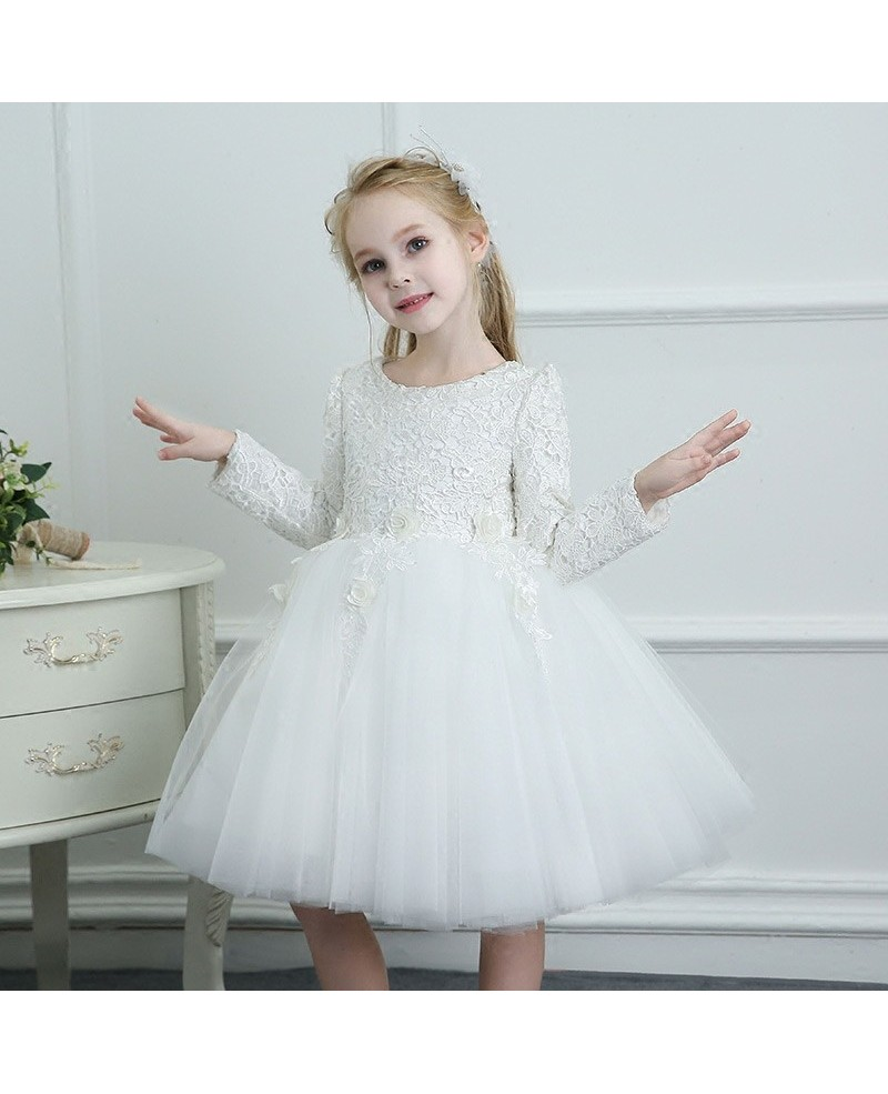 cd25698375 White Spring Tutus Flower Girl Dress Tulle Long Sleeves For Winter  Weddings