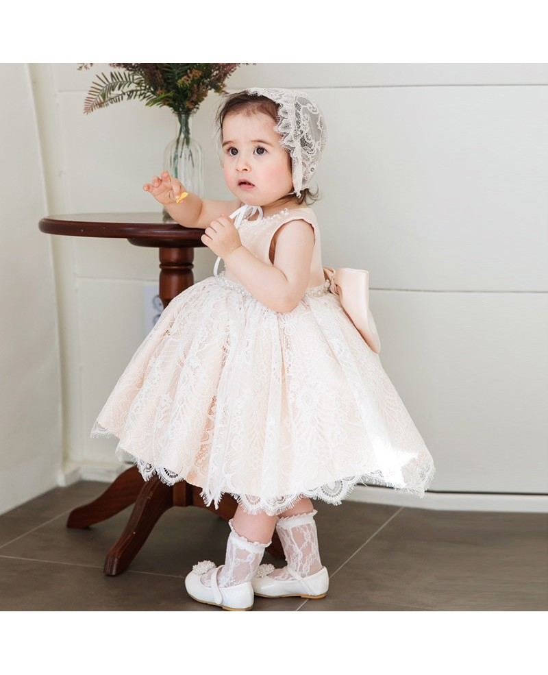 Cute Pink Lace Princess Girls Pageant Dress Flower Girl Dress Couture High Quality