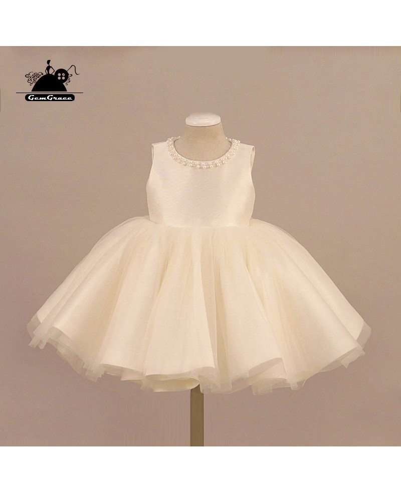 Cream White Tulle Beaded Flower Girl Dress Ballet Performance Pageant Gown