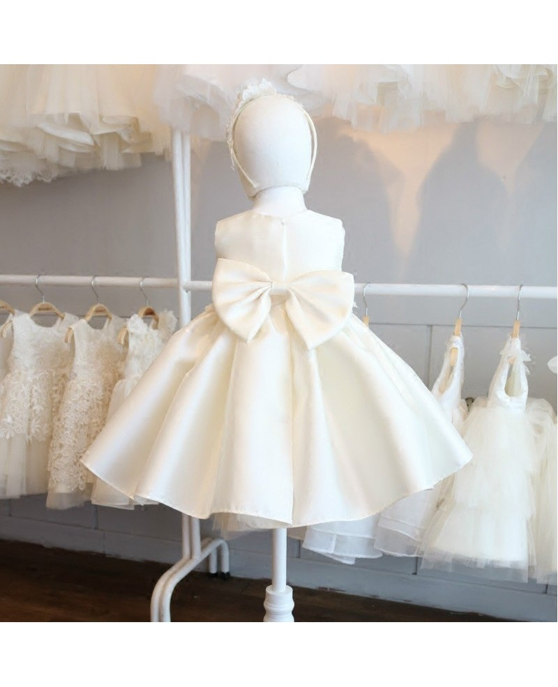High-end Cream White Satin Flower Girl Pageant Dress Formal Weddings