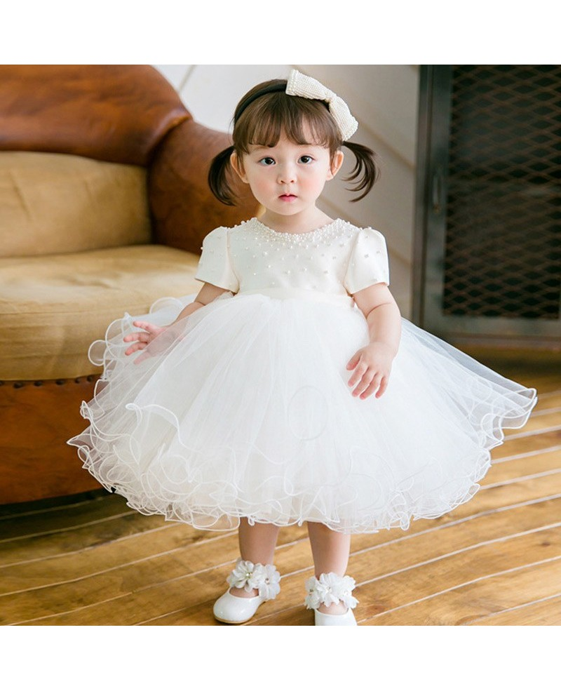 Lovely Princess White Puffy Beaded Flower Girl Dress With Short Sleeves