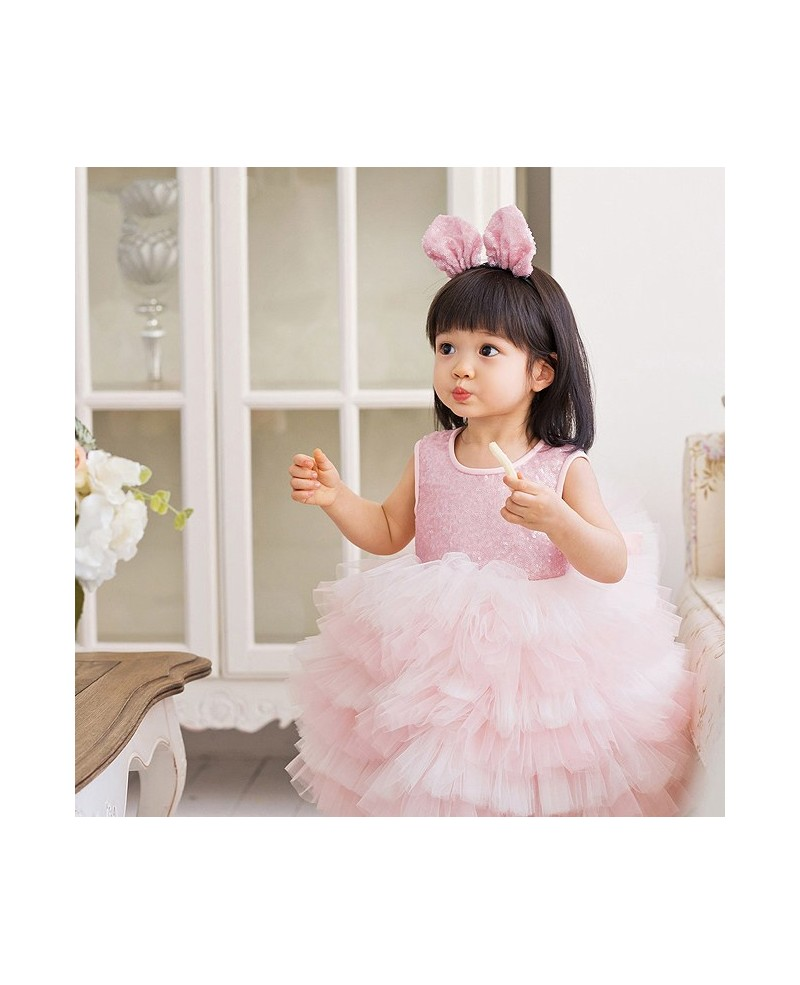 Pink Super Puffy Girls Pageant Dress Ballet Performance Party Dress High Quality