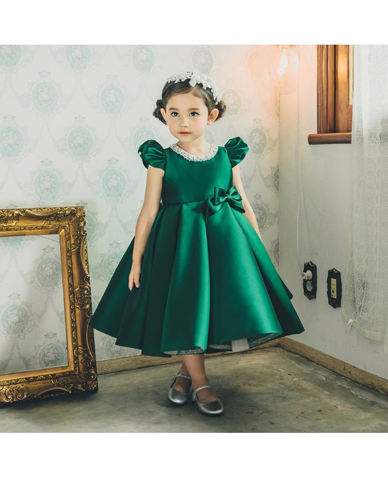 Vintage Couture Green Satin Flower Girl Dress With Bubble Sleeves For Formal