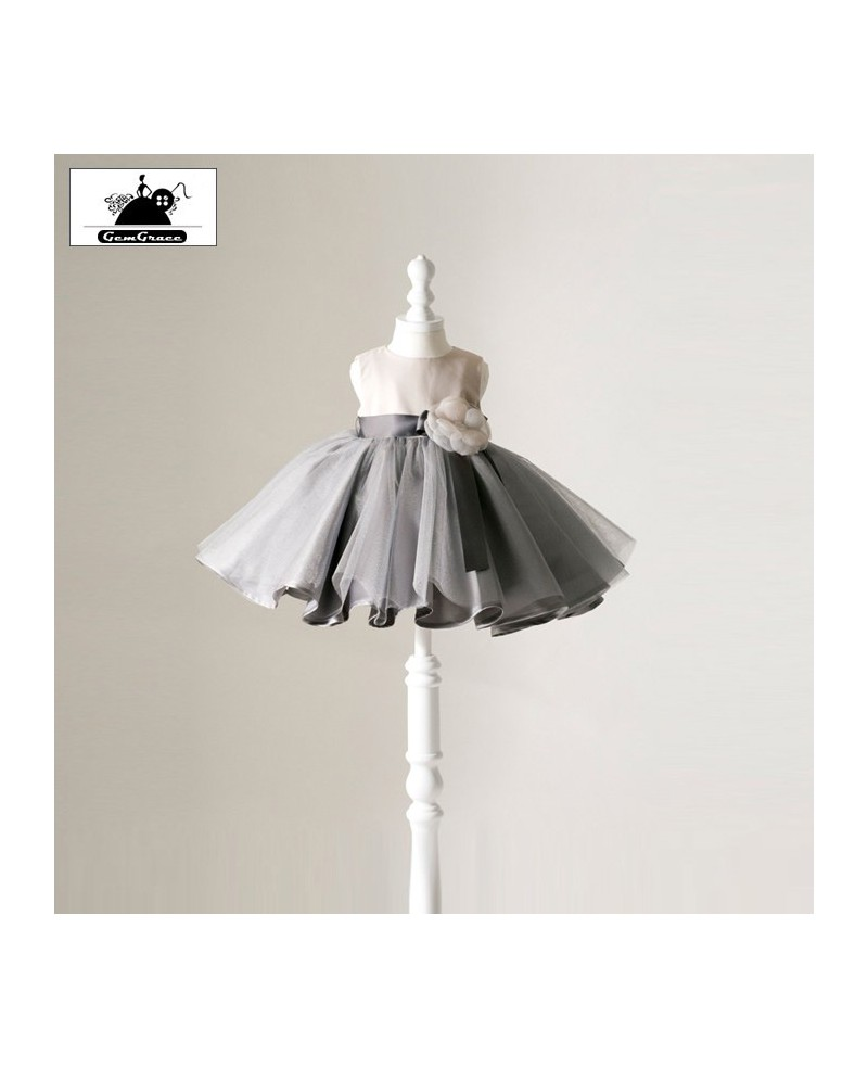 Modern Ballet Tutu Grey Flower Girl Dress Toddler Pageant Gown