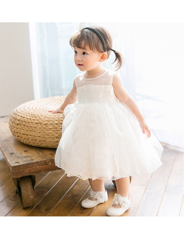 Elegant Ivory Lace Wedding Dress Flower Girl Pageant Gown With Bow In Back