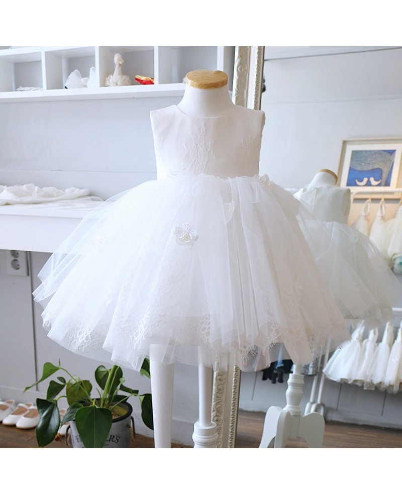 White Lace And Tulle Princess Flower Girl Dress Toddler Party Dress