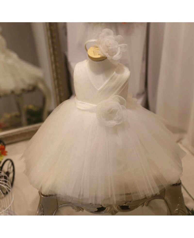 Designer Puffy White Tulle Flower Girl Dress Tutus Pageant Gown