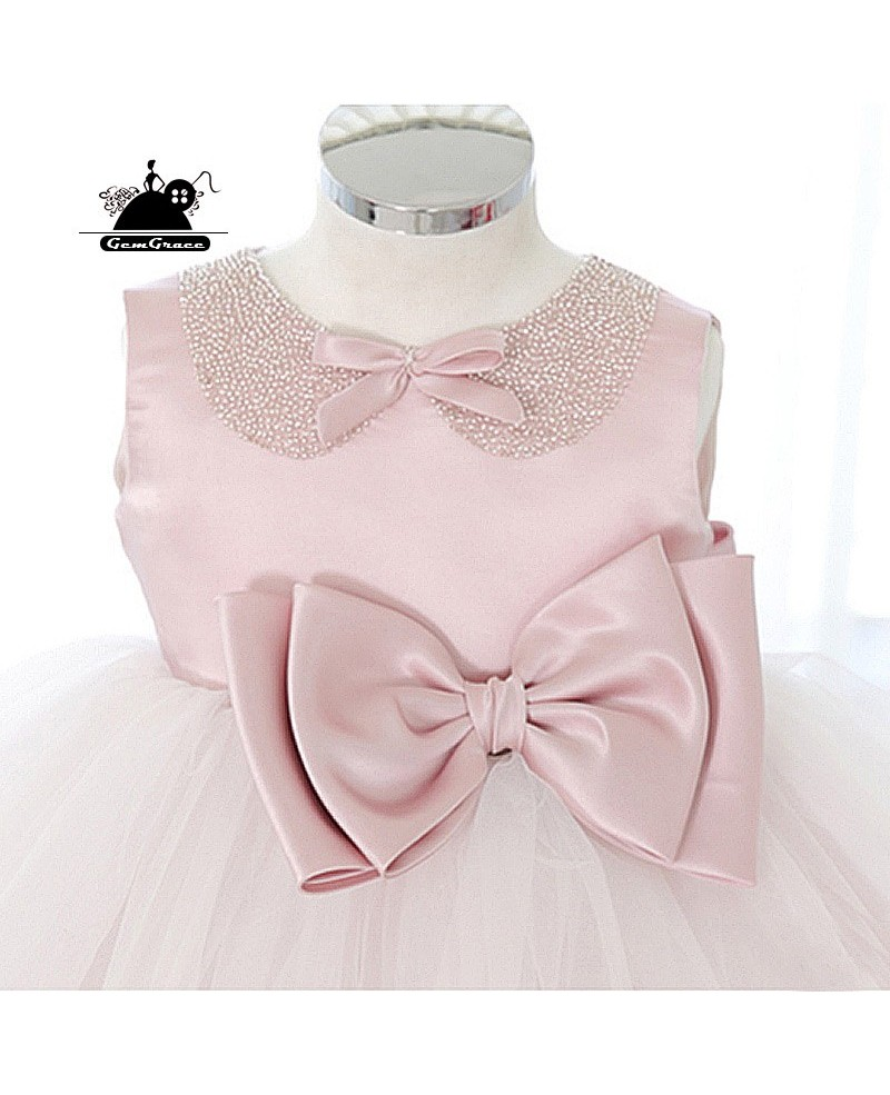 Cute Big Bow Pink Tutus Flower Girl Dress Dance Performance Pageant Gown