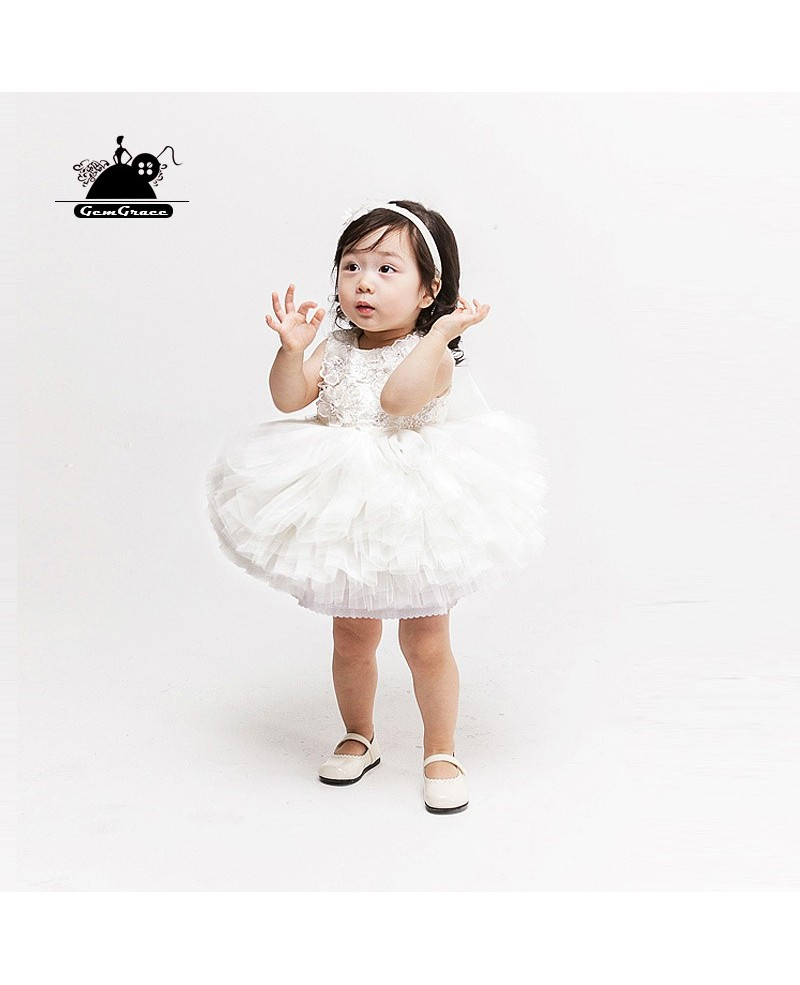 Couture Cute Puffy Tulle Toddler Girls Pageant Dress Flower Girl Wedding Dress