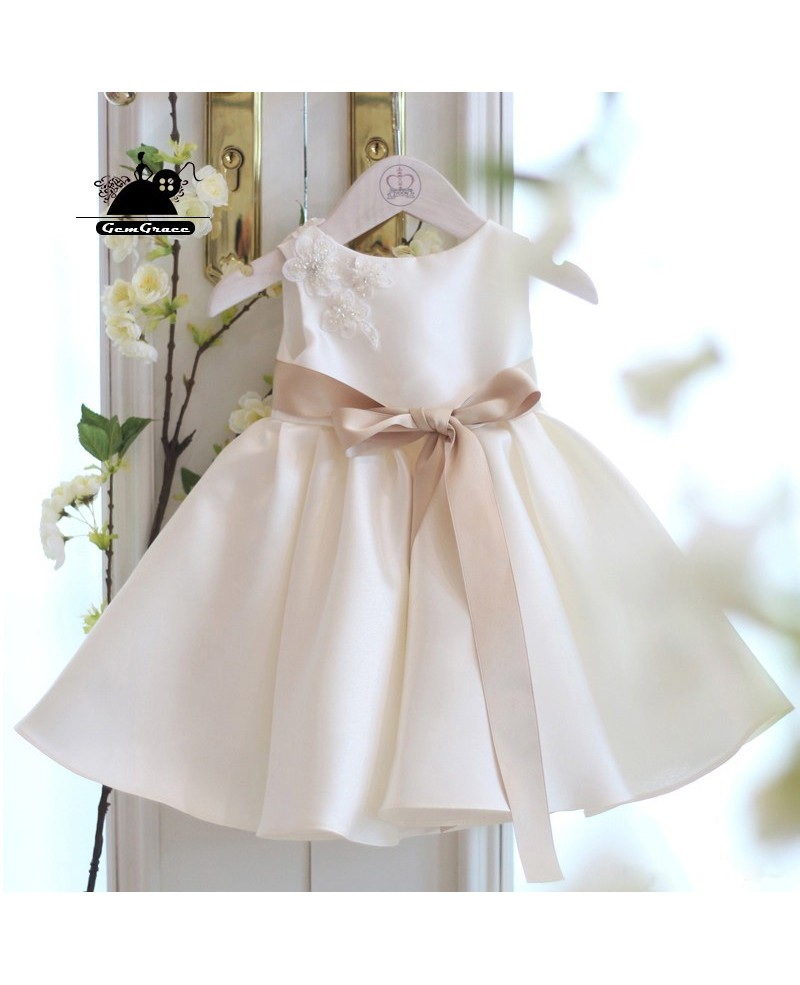 Simple Ivory Satin Flower Girl Dress With Sash Summer Weddings