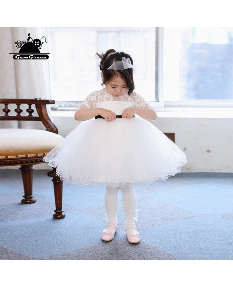 Flower girl dresses cheap gowncheap wedding gownscheap evening cute white tutu ballet dance flower girl dress with sleeves for performance izmirmasajfo