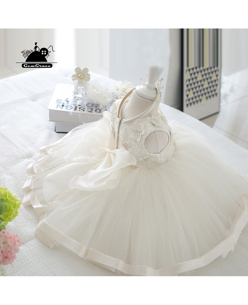 White Princess Ballgown Flower Girl Wedding Dress Couture Pageant Gown