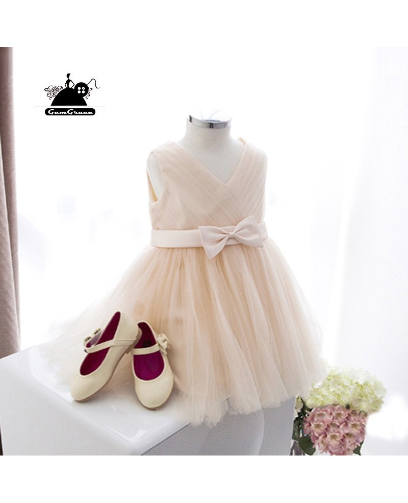 Elegant Champagne Tulle Flower Girl Dress For Summer Weddings With Sash
