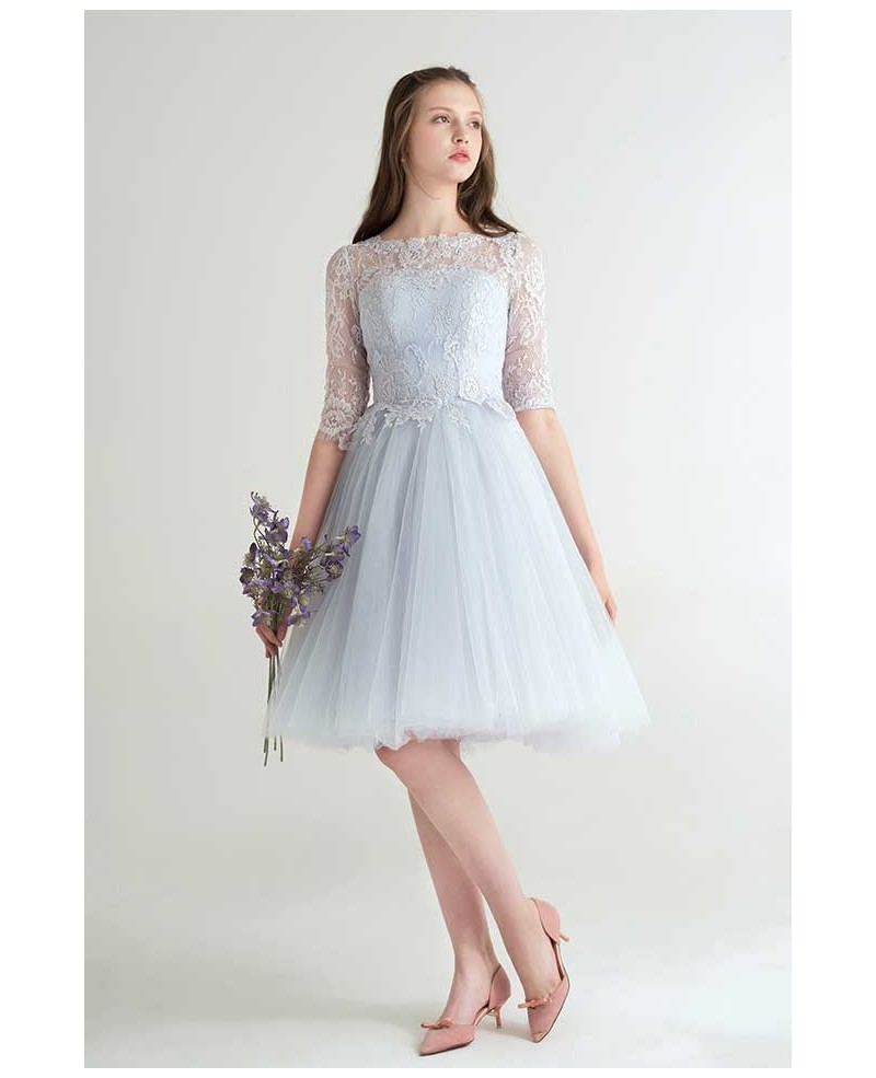 Lovely A-Line Scoop Neck Short Tulle Dress With Appliques Lace