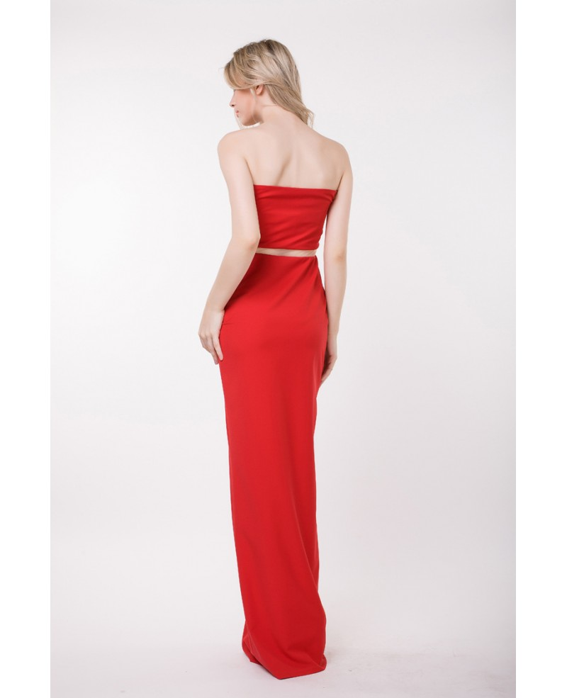 Elegant Sheath Strapless Polyster Evening Dress With Front Split