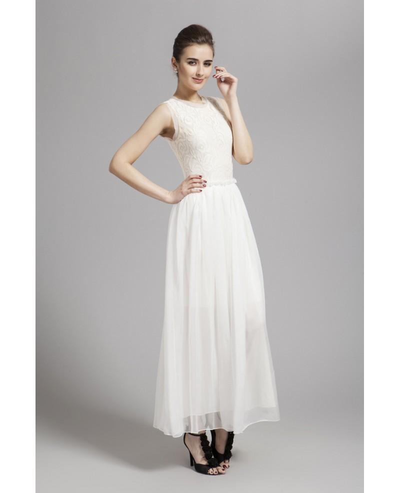 affded9e9f9 Stylish A-Line White Lace Chiffon Long Wedding Guest Dress