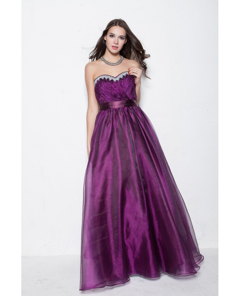 Purple Strapless Long Party Ball Gown Dress for Homecoming