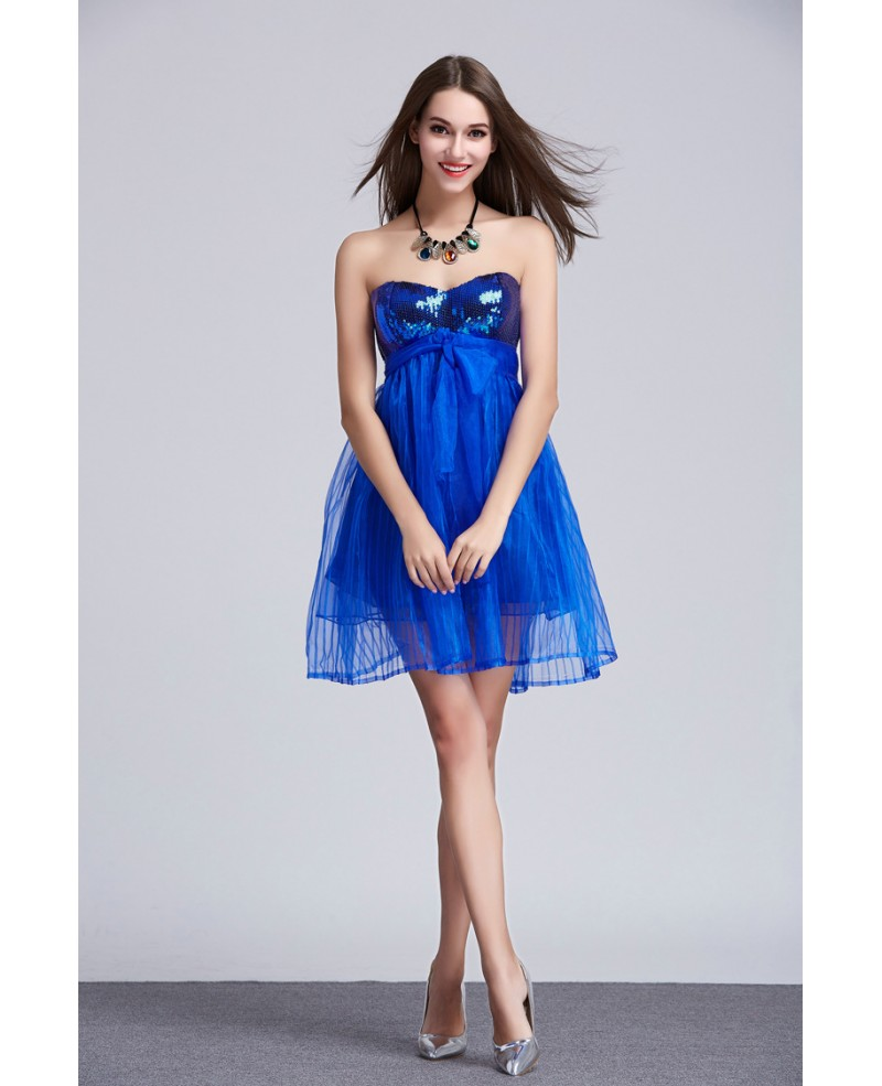 Stylish Sweetheart Tulle Mini Homecoming Dress With Sequins