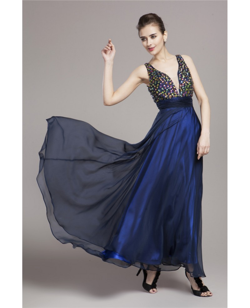 Sexy A-Line V-neck Chiffon Long Prom Dress With Beading