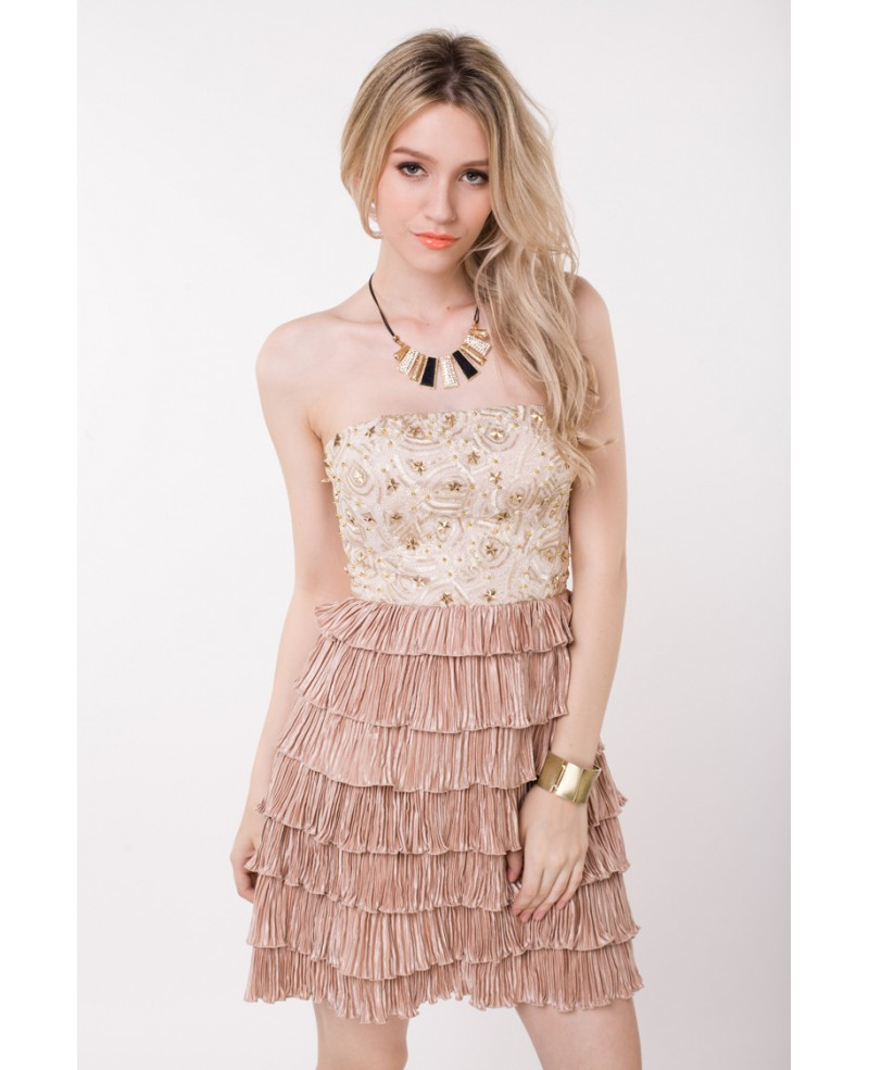Cute Strapless Short Homecoming Dress With Beading Ruffle