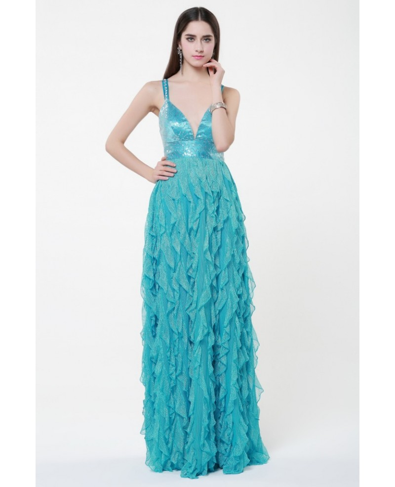 Speical V-neck High Waist Tulle Long Prom Dress With Ruffle