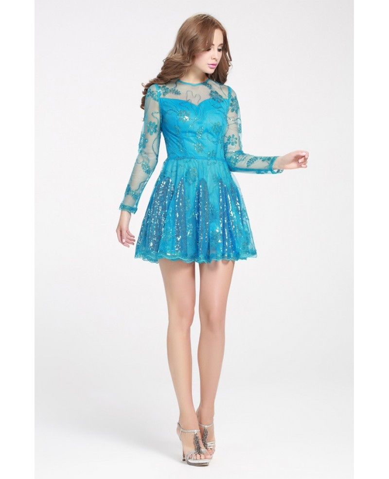 Blue Sequins Mini Short Prom Dress with Long Sleeves