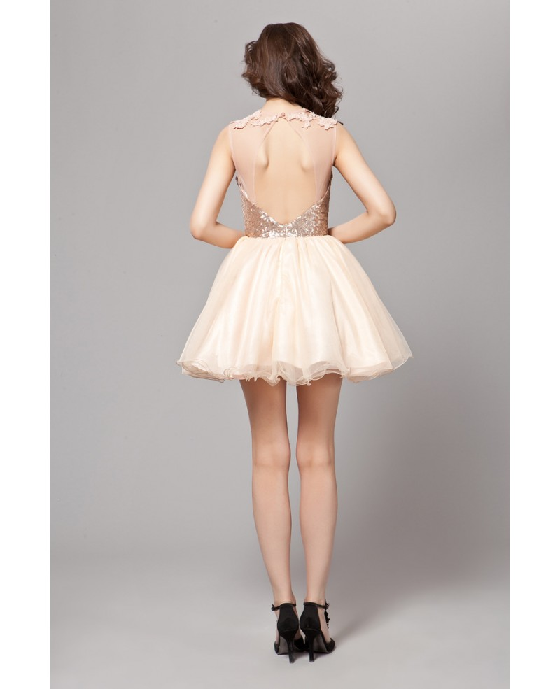 Sexy A-Line Tulle Short Homecoming Dress With Sequined Top