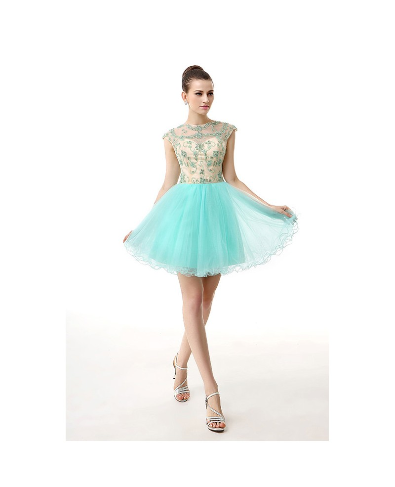 A-Line Scoop Neck Short Tulle Prom Dress With Beading Appliques Lace
