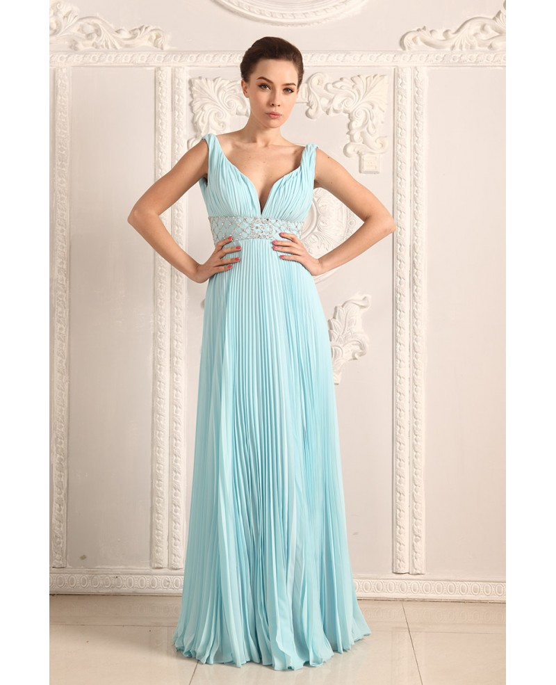 A-line V-neck Chiffon Floor-length Prom Dresses With Beading