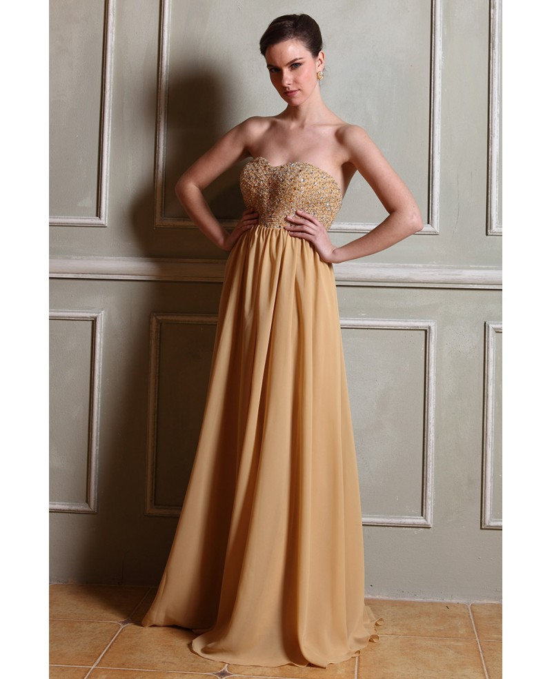 A-line Sweetheart Chiffon Floor-length Prom Dresses With Ruffle Beading