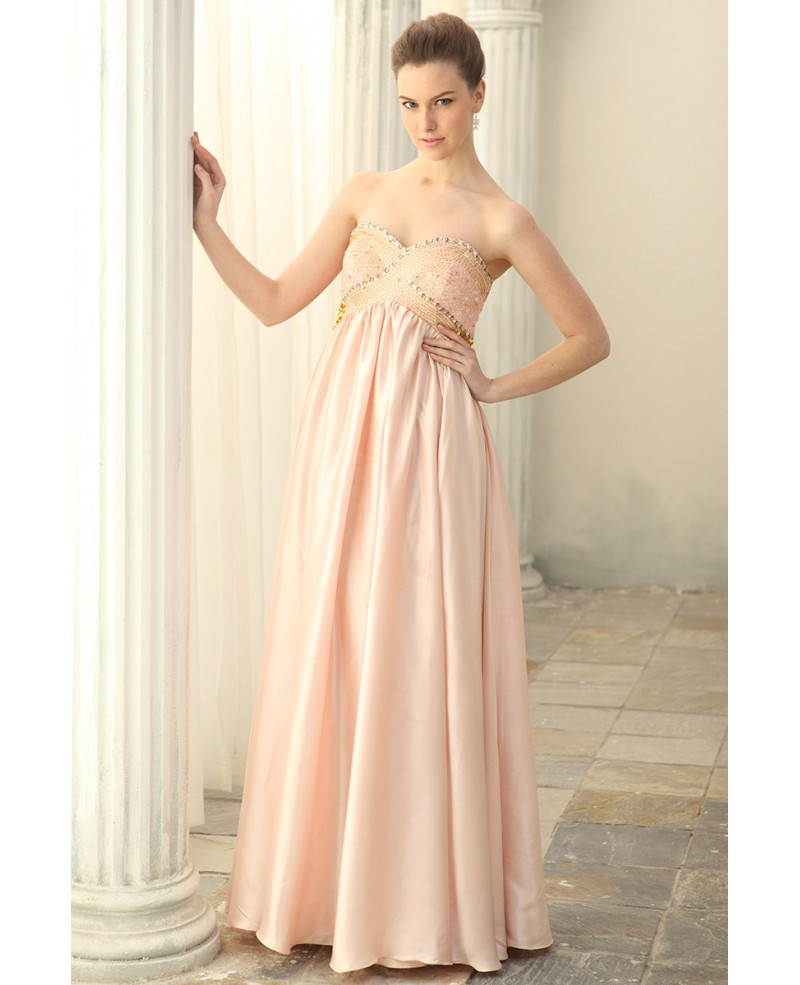 A-line Sweetheart Chiffon Floor-length Prom Dress With Beading
