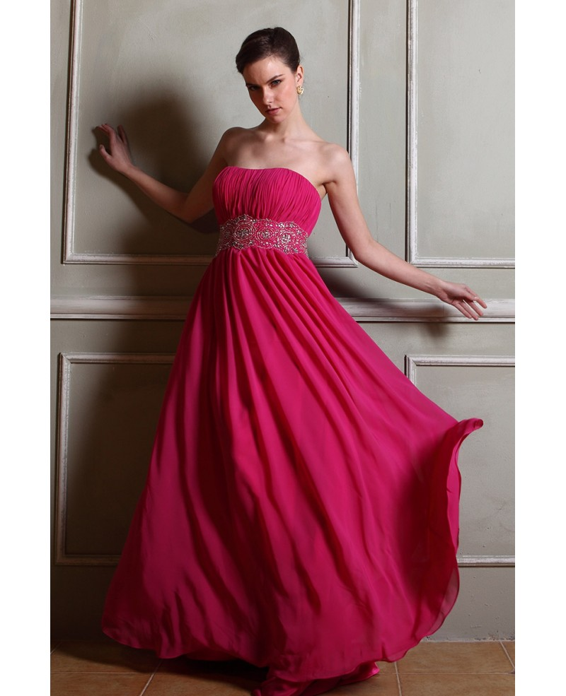 A-line Strapless Sweep Train Chiffon Prom Dress With Beading