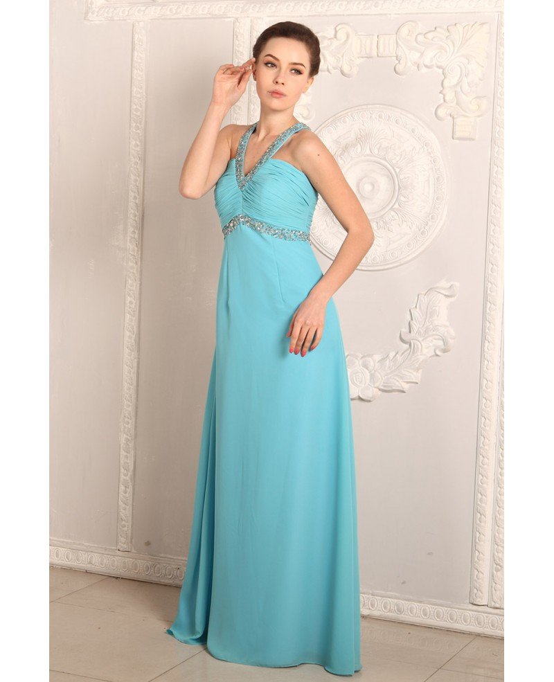 A-line V-neck Chiffon Floor-length Prom Dress With Beading