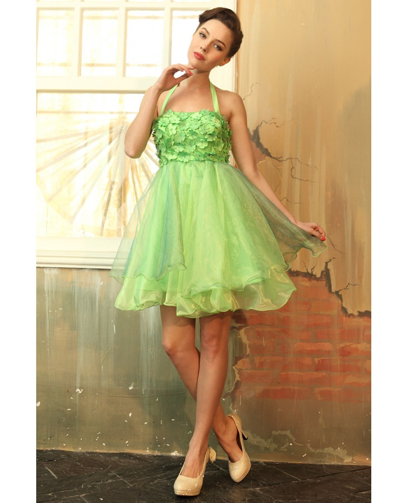 A-line Halter Tulle Short Prom Dress With Flowers