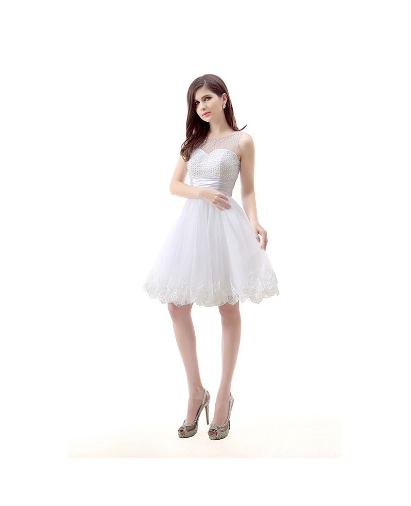 A-Line Scoop Neck Short Tulle Prom Dress With Pearl Appliques Lace