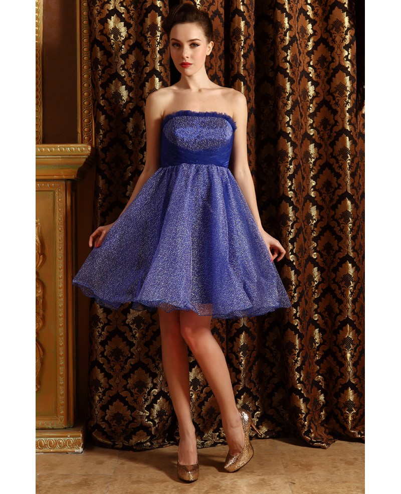 A-line Strapless Tulle Short Prom Dress With Beading