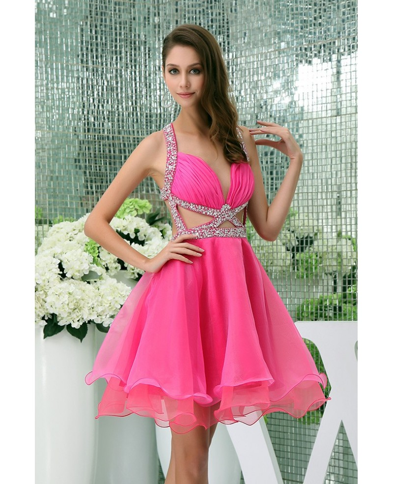 A-line V-neck Short Tulle Prom Dress With Beading