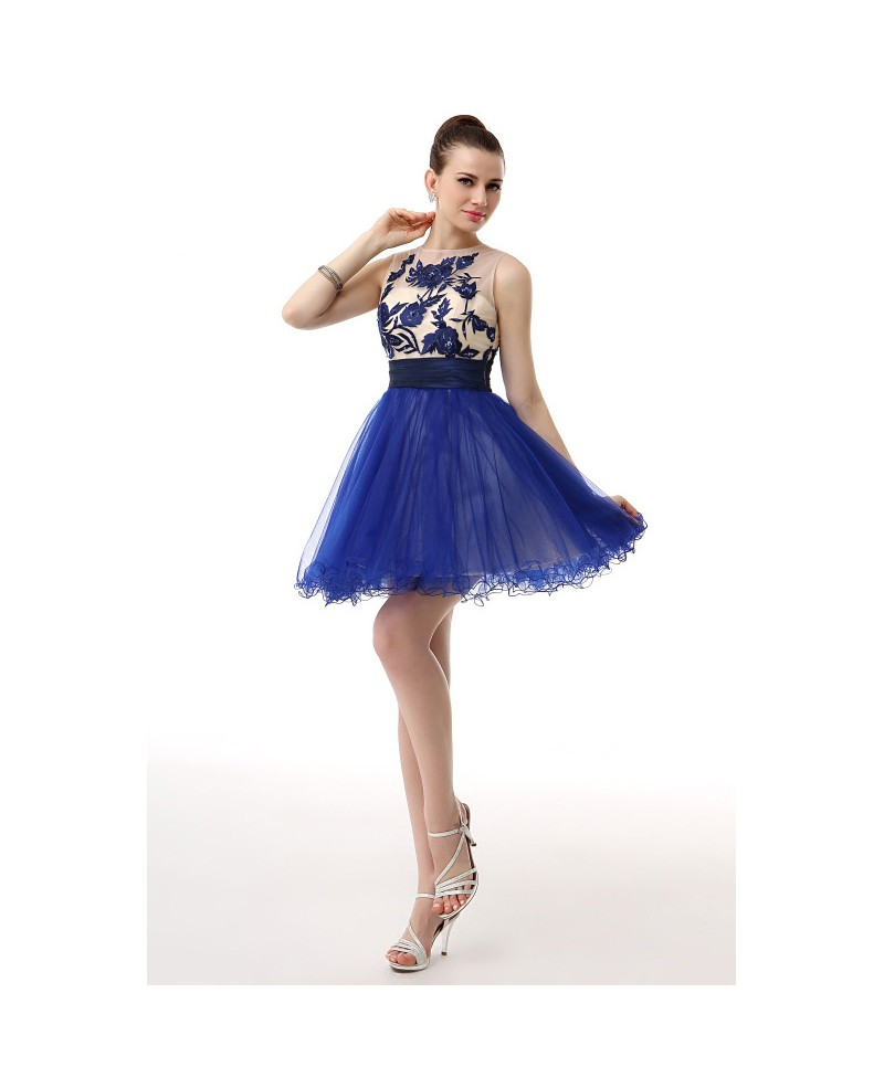 A-Line Scoop Neck Short Tulle Prom Dress With Appliques Lace