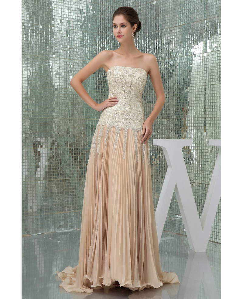 A-line Strapless Sweep Train Sequined Chiffon Prom Dress