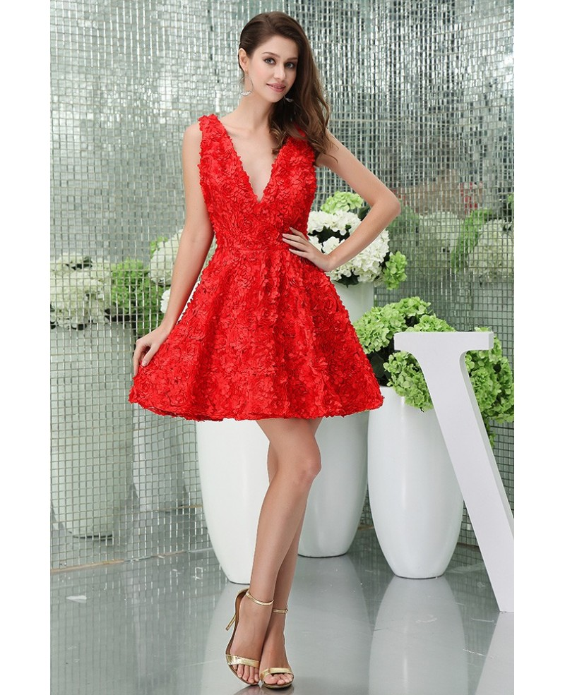 A-line V-neck Short Lace Homecoming Dress